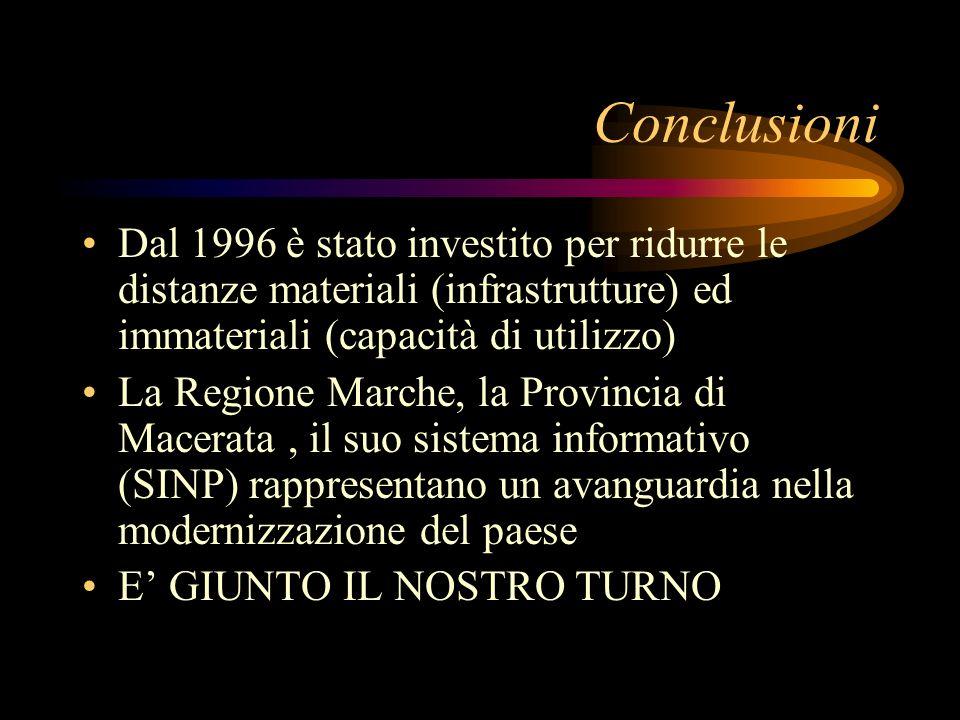 Conclusioni Dal 1996 è stato investito per ridurre le distanze materiali (infrastrutture) ed immateriali (capacità di utilizzo) La Regione Marche, la Provincia di Macerata, il suo sistema informativo (SINP) rappresentano un avanguardia nella modernizzazione del paese E GIUNTO IL NOSTRO TURNO