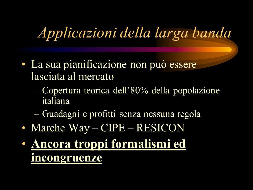 Applicazioni della larga banda La sua pianificazione non può essere lasciata al mercato –Copertura teorica dell80% della popolazione italiana –Guadagn
