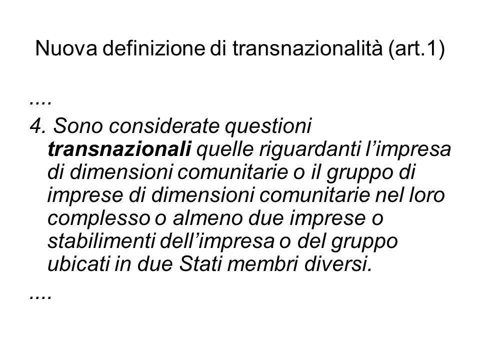 Nuova definizione di transnazionalità (art.1).... 4. Sono considerate questioni transnazionali quelle riguardanti limpresa di dimensioni comunitarie o