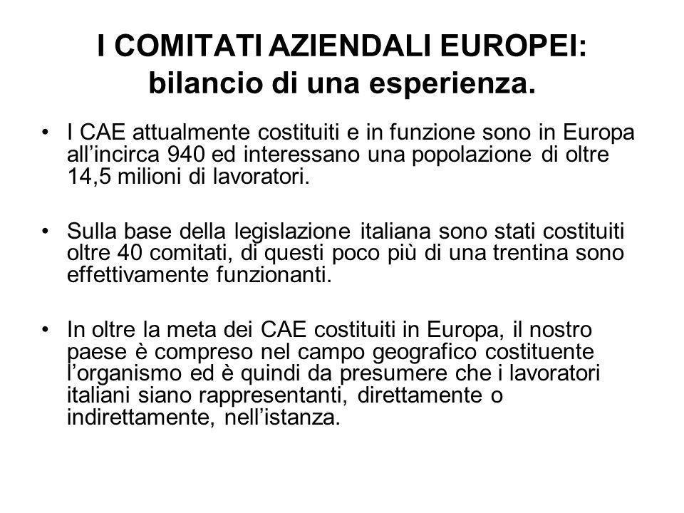I COMITATI AZIENDALI EUROPEI: bilancio di una esperienza. I CAE attualmente costituiti e in funzione sono in Europa allincirca 940 ed interessano una