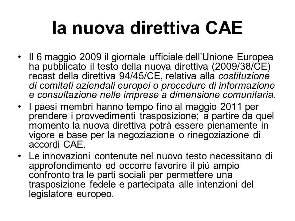 la nuova direttiva CAE Il 6 maggio 2009 il giornale ufficiale dellUnione Europea ha pubblicato il testo della nuova direttiva (2009/38/CE) recast dell