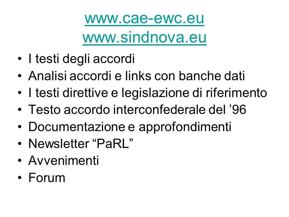 www.cae-ewc.eu www.sindnova.eu I testi degli accordi Analisi accordi e links con banche dati I testi direttive e legislazione di riferimento Testo acc
