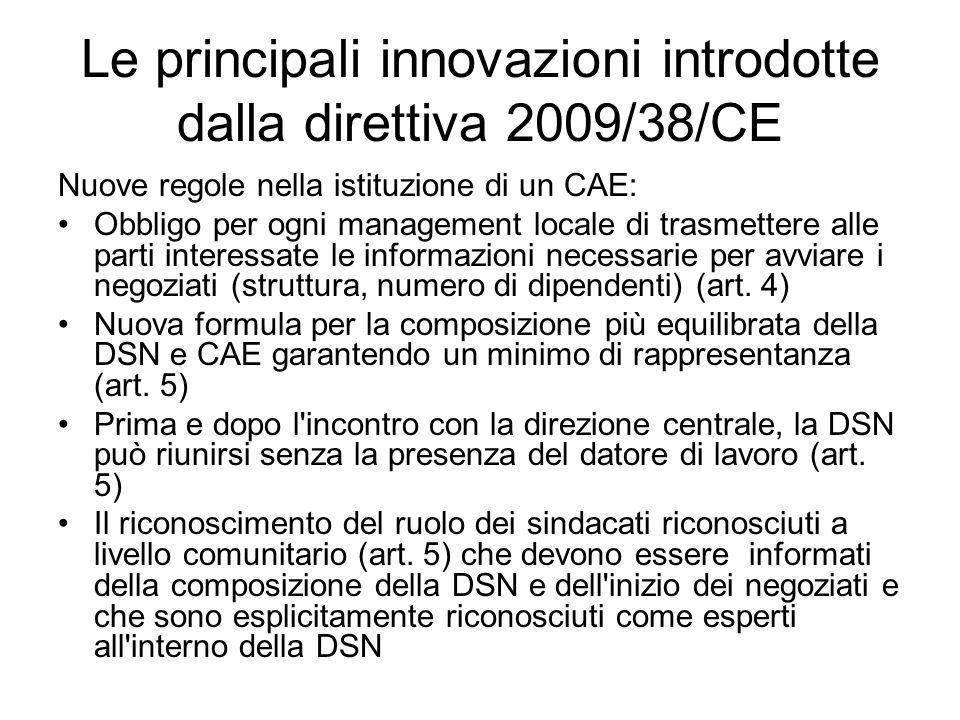 Le principali innovazioni introdotte dalla direttiva 2009/38/CE Nuove regole nella istituzione di un CAE: Obbligo per ogni management locale di trasme