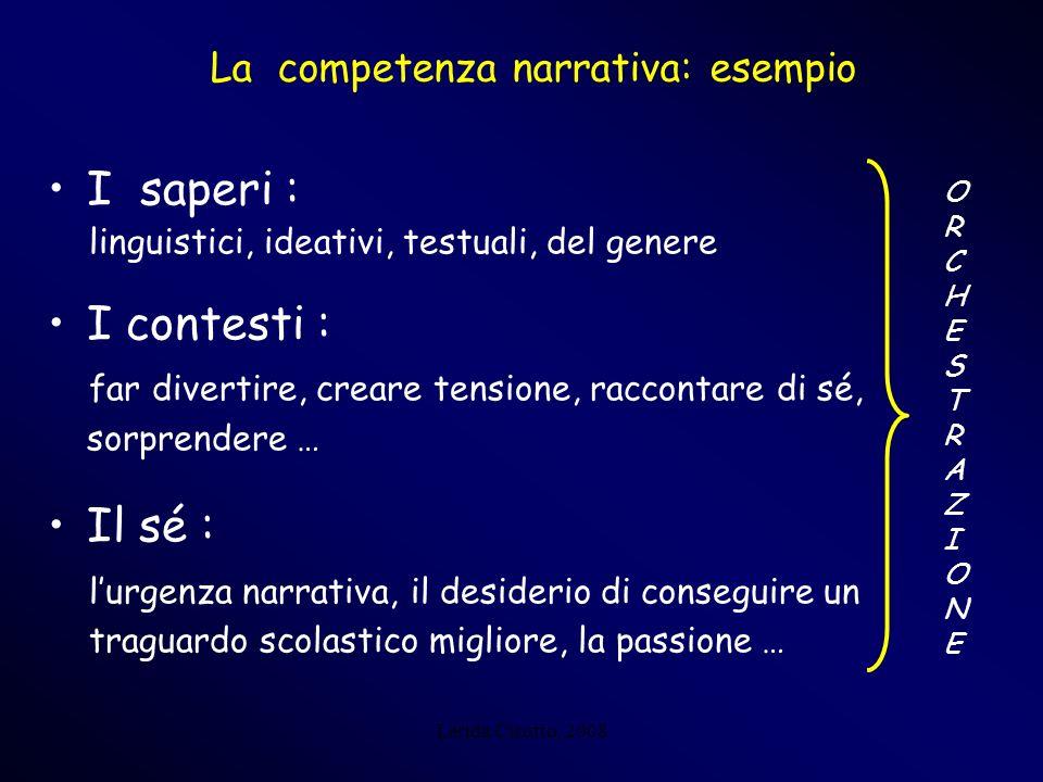 Lerida Cisotto, 2008 La competenza narrativa: esempio I saperi : linguistici, ideativi, testuali, del genere I contesti : far divertire, creare tensio