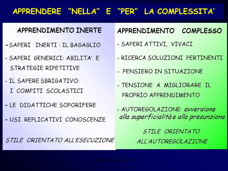 Lerida Cisotto, 2008 APPRENDERE NELLA E PER LA COMPLESSITA APPRENDIMENTO INERTE - SAPERI INERTI : IL BAGAGLIO - SAPERI GENERICI: ABILITA E STRATEGIE R