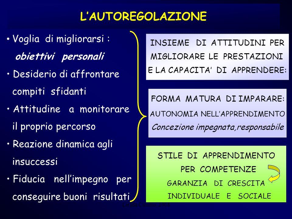 Lerida Cisotto, 2008 LAUTOREGOLAZIONE Voglia di migliorarsi : obiettivi personali Desiderio di affrontare compiti sfidanti Attitudine a monitorare il
