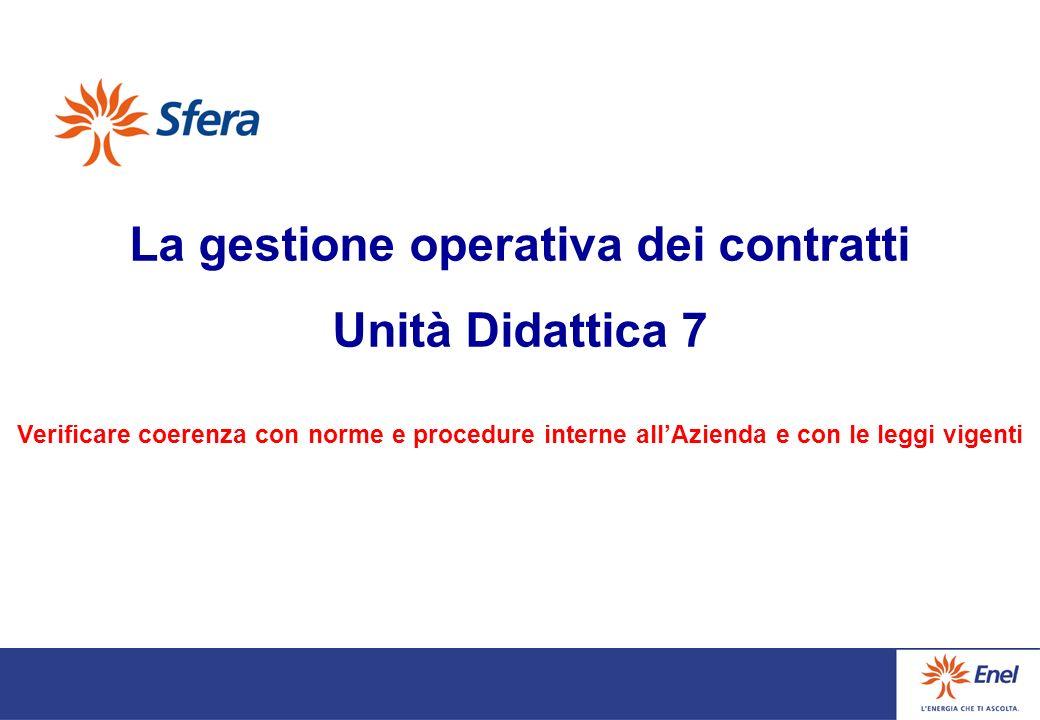 La gestione operativa dei contratti Unità Didattica 7 Verificare coerenza con norme e procedure interne allAzienda e con le leggi vigenti