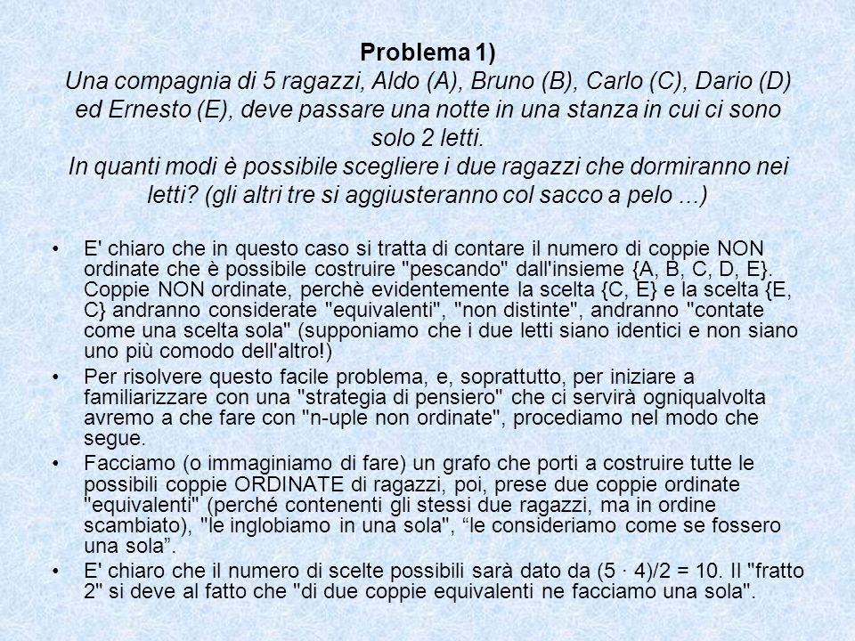 Problema 1) Una compagnia di 5 ragazzi, Aldo (A), Bruno (B), Carlo (C), Dario (D) ed Ernesto (E), deve passare una notte in una stanza in cui ci sono
