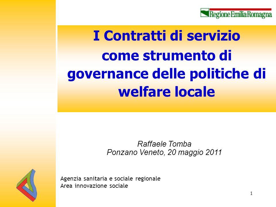 I Contratti di servizio come strumento di governance delle politiche di welfare locale 1 Agenzia sanitaria e sociale regionale Area innovazione sociale Raffaele Tomba Ponzano Veneto, 20 maggio 2011
