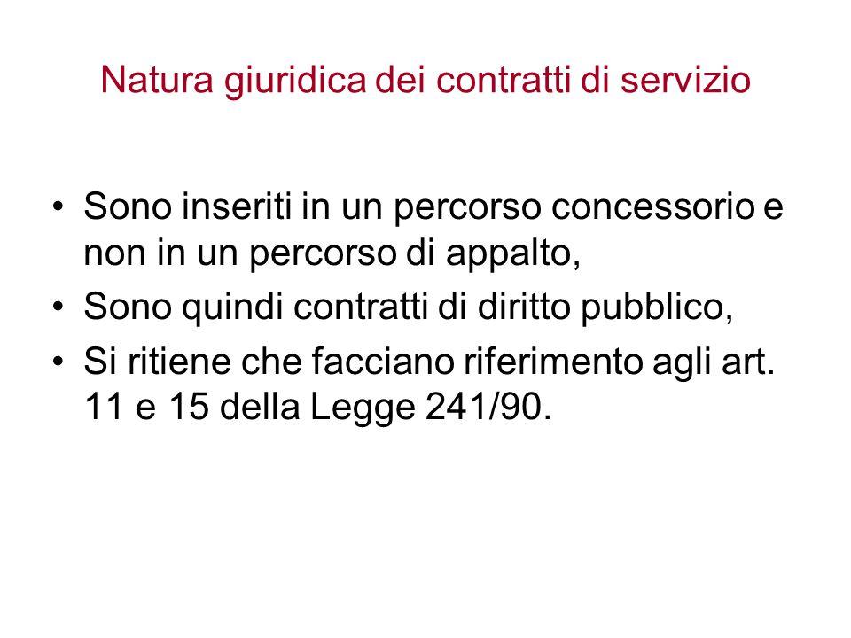 Natura giuridica dei contratti di servizio Sono inseriti in un percorso concessorio e non in un percorso di appalto, Sono quindi contratti di diritto pubblico, Si ritiene che facciano riferimento agli art.