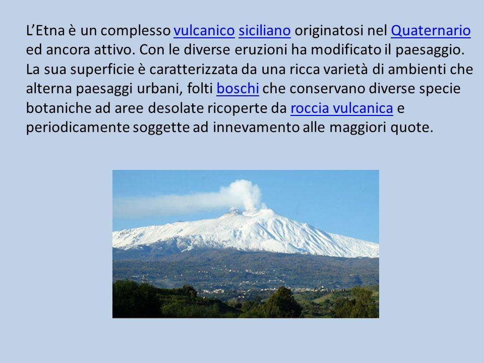 LEtna è un complesso vulcanico siciliano originatosi nel Quaternario ed ancora attivo. Con le diverse eruzioni ha modificato il paesaggio. La sua supe