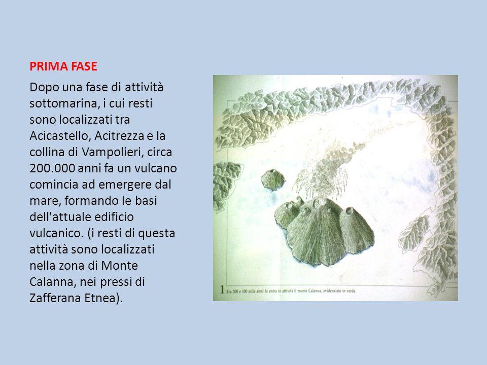 PRIMA FASE Dopo una fase di attività sottomarina, i cui resti sono localizzati tra Acicastello, Acitrezza e la collina di Vampolieri, circa 200.000 an