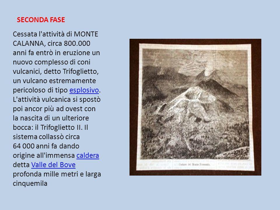 SECONDA FASE Cessata l'attività di MONTE CALANNA, circa 800.000 anni fa entrò in eruzione un nuovo complesso di coni vulcanici, detto Trifoglietto, un
