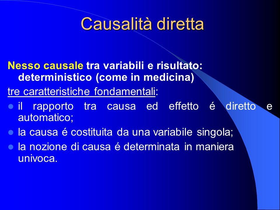 Causalità diretta Nesso causale tra variabili e risultato: deterministico (come in medicina) tre caratteristiche fondamentali: il rapporto tra causa e