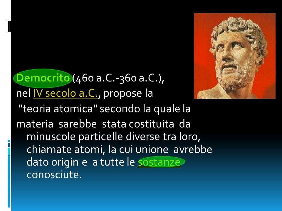 DemocritoDemocrito (460 a.C.-360 a.C.), nel IV secolo a.C., propose laIV secolo a.C.