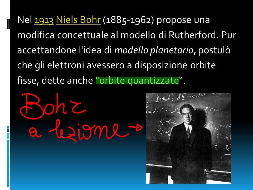 Nel 1913 Niels Bohr (1885-1962) propose una1913Niels Bohr modifica concettuale al modello di Rutherford. Pur accettandone l'idea di modello planetario