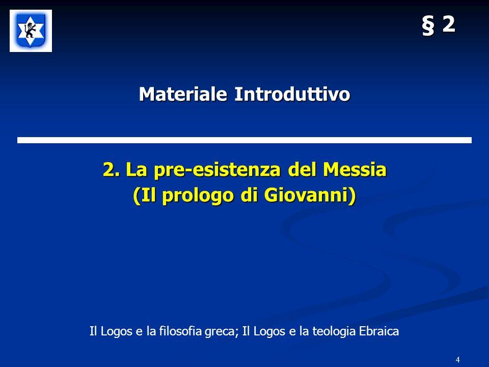§ 2: La pre-esistenza del Messia 5 LOGOS RagioneParola Idea di DioEspressione di Dio Prossima: Equazione davar, memra, logos