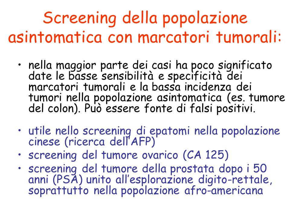 Screening della popolazione asintomatica con marcatori tumorali: nella maggior parte dei casi ha poco significato date le basse sensibilità e specific