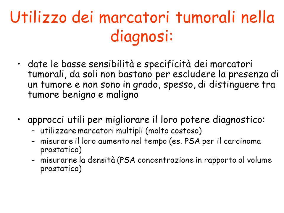 Utilizzo dei marcatori tumorali nella diagnosi: date le basse sensibilità e specificità dei marcatori tumorali, da soli non bastano per escludere la p