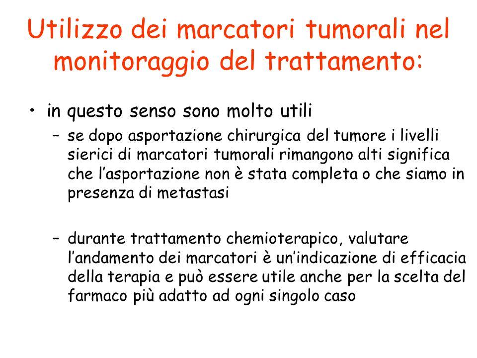 Utilizzo dei marcatori tumorali nel monitoraggio del trattamento: in questo senso sono molto utili –se dopo asportazione chirurgica del tumore i livel
