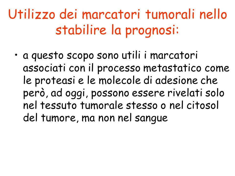 Utilizzo dei marcatori tumorali nello stabilire la prognosi: a questo scopo sono utili i marcatori associati con il processo metastatico come le prote