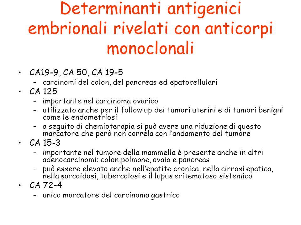 Determinanti antigenici embrionali rivelati con anticorpi monoclonali CA19-9, CA 50, CA 19-5 –carcinomi del colon, del pancreas ed epatocellulari CA 1