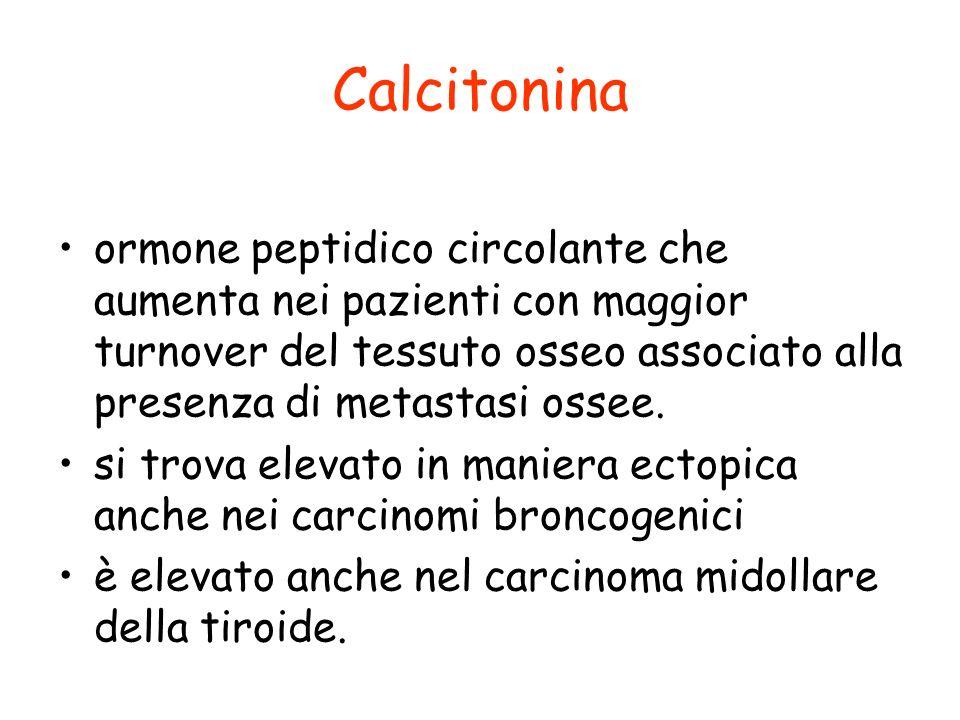 Calcitonina ormone peptidico circolante che aumenta nei pazienti con maggior turnover del tessuto osseo associato alla presenza di metastasi ossee. si