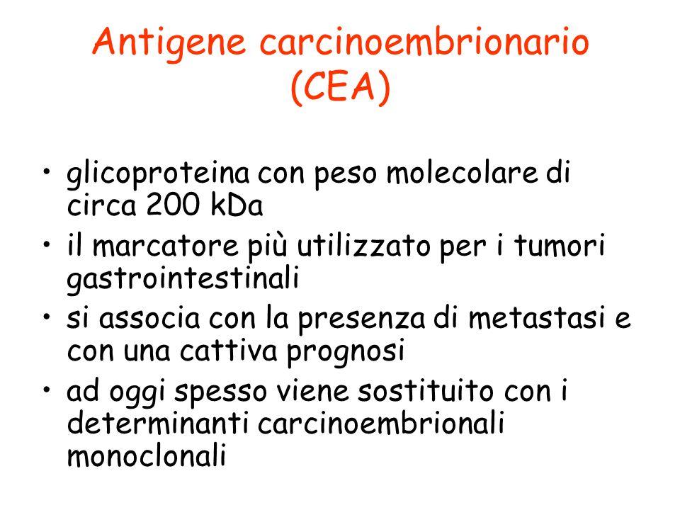 Antigene carcinoembrionario (CEA) glicoproteina con peso molecolare di circa 200 kDa il marcatore più utilizzato per i tumori gastrointestinali si ass