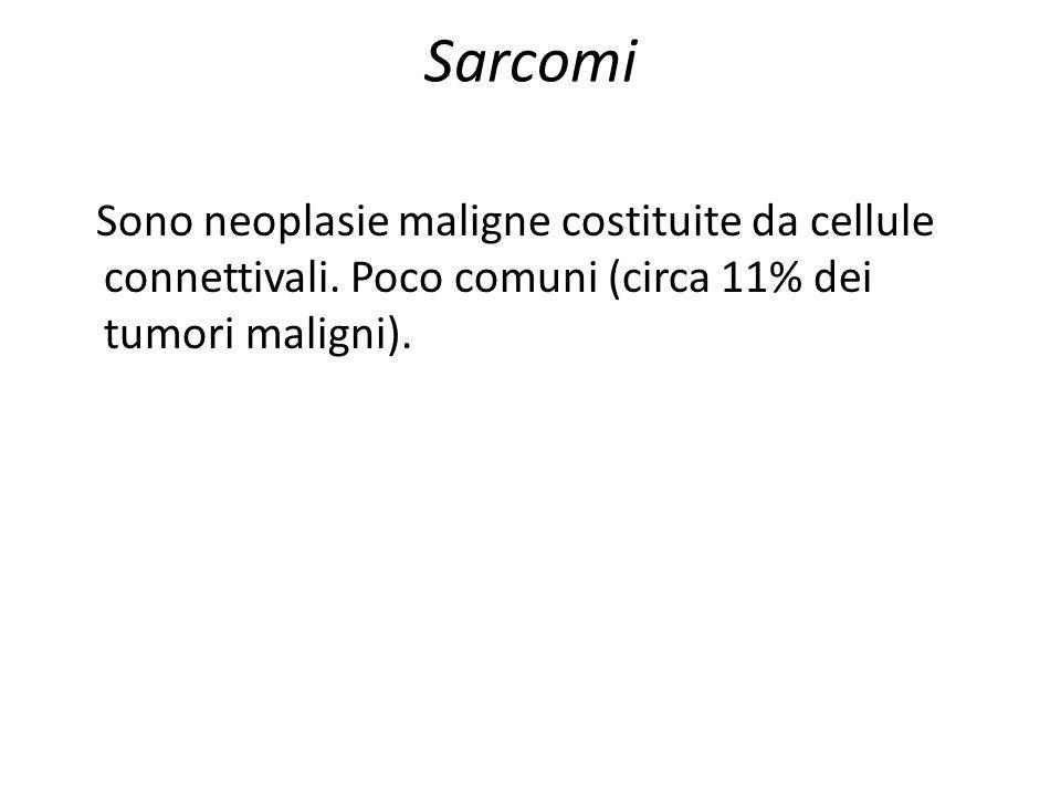 Sarcomi Sono neoplasie maligne costituite da cellule connettivali. Poco comuni (circa 11% dei tumori maligni).