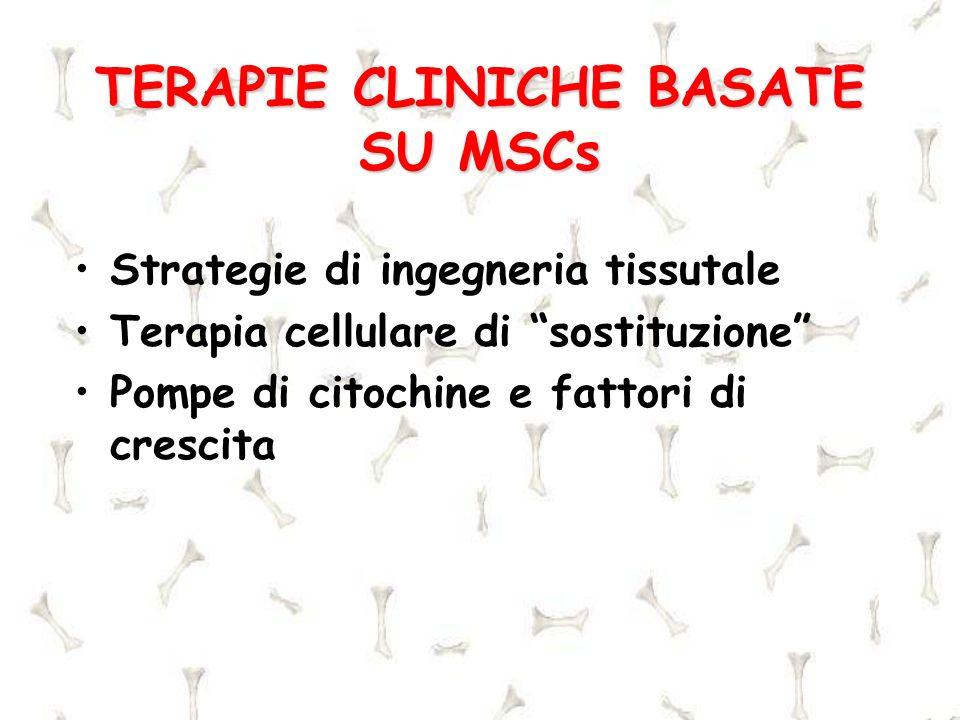 TERAPIE CLINICHE BASATE SU MSCs Strategie di ingegneria tissutale Terapia cellulare di sostituzione Pompe di citochine e fattori di crescita