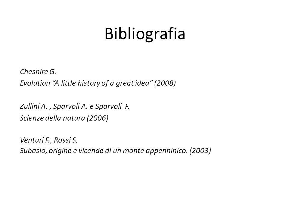 Bibliografia Cheshire G. Evolution A little history of a great idea (2008) Zullini A., Sparvoli A. e Sparvoli F. Scienze della natura (2006) Venturi F