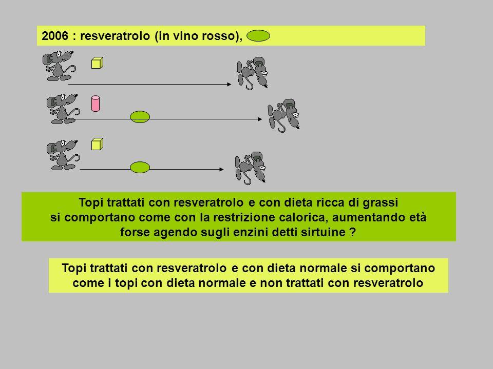 2006 : resveratrolo (in vino rosso), Topi trattati con resveratrolo e con dieta ricca di grassi si comportano come con la restrizione calorica, aument