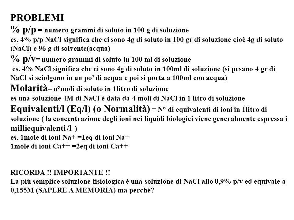 PROBLEMI % p/p = numero grammi di soluto in 100 g di soluzione es.
