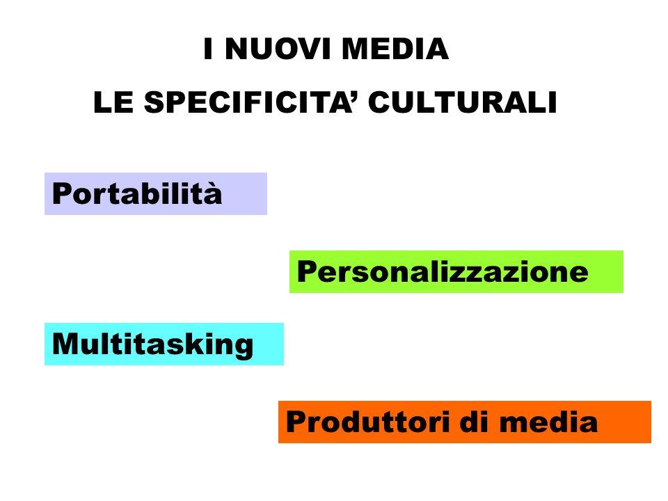 I NUOVI MEDIA LE SPECIFICITA CULTURALI Portabilità Personalizzazione Multitasking Produttori di media