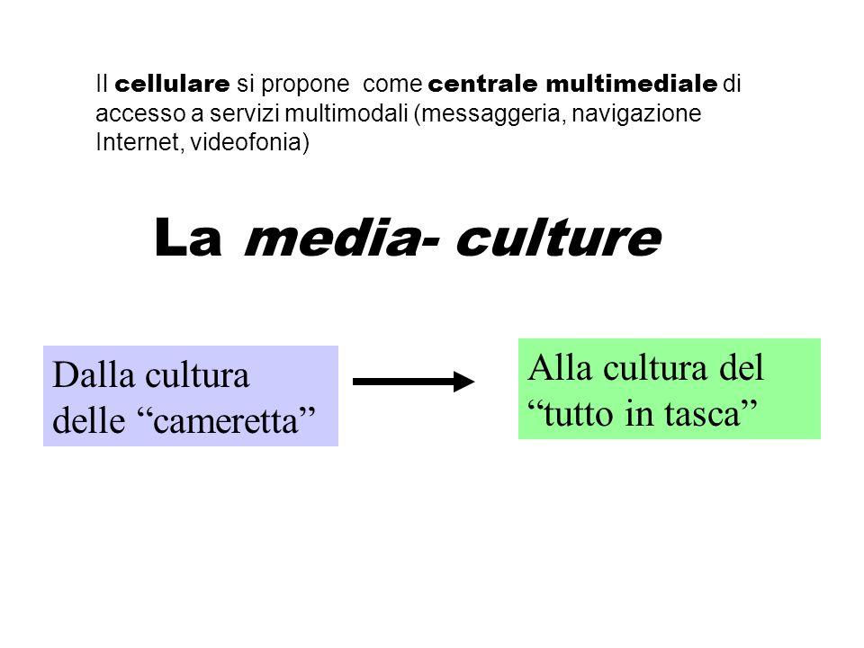 Il cellulare si propone come centrale multimediale di accesso a servizi multimodali (messaggeria, navigazione Internet, videofonia) Dalla cultura delle cameretta Alla cultura del tutto in tasca La media- culture