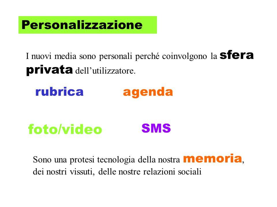 Personalizzazione I nuovi media sono personali perché coinvolgono la sfera privata dellutilizzatore.