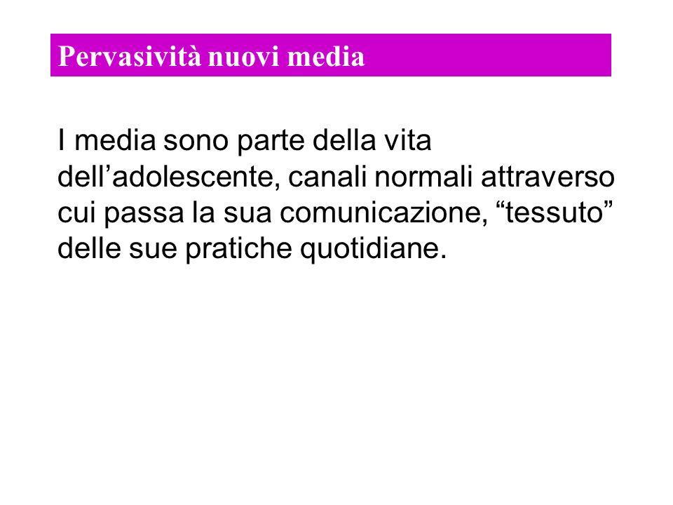 Pervasività nuovi media I media sono parte della vita delladolescente, canali normali attraverso cui passa la sua comunicazione, tessuto delle sue pratiche quotidiane.