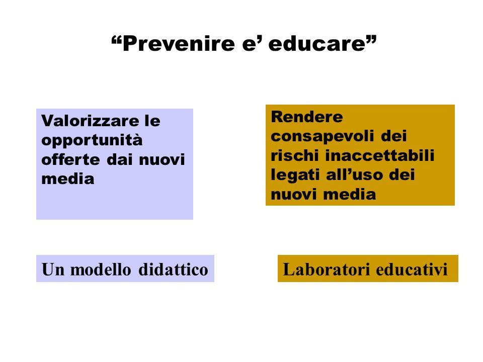 Prevenire e educare Valorizzare le opportunità offerte dai nuovi media Rendere consapevoli dei rischi inaccettabili legati alluso dei nuovi media Un modello didatticoLaboratori educativi