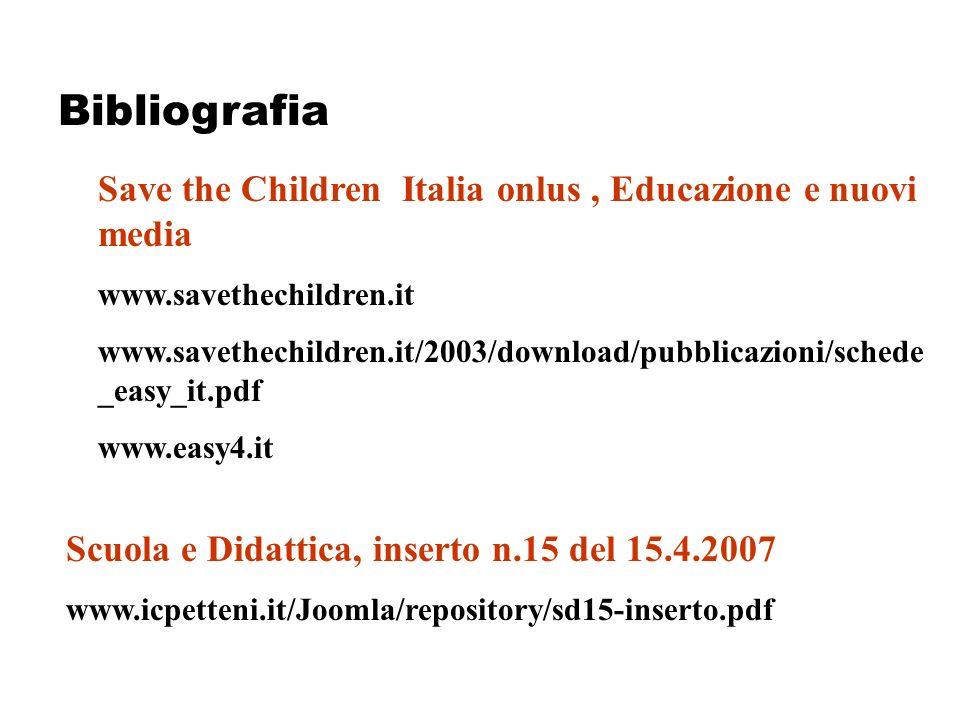 Save the Children Italia onlus, Educazione e nuovi media www.savethechildren.it www.savethechildren.it/2003/download/pubblicazioni/schede _easy_it.pdf www.easy4.it Scuola e Didattica, inserto n.15 del 15.4.2007 www.icpetteni.it/Joomla/repository/sd15-inserto.pdf Bibliografia