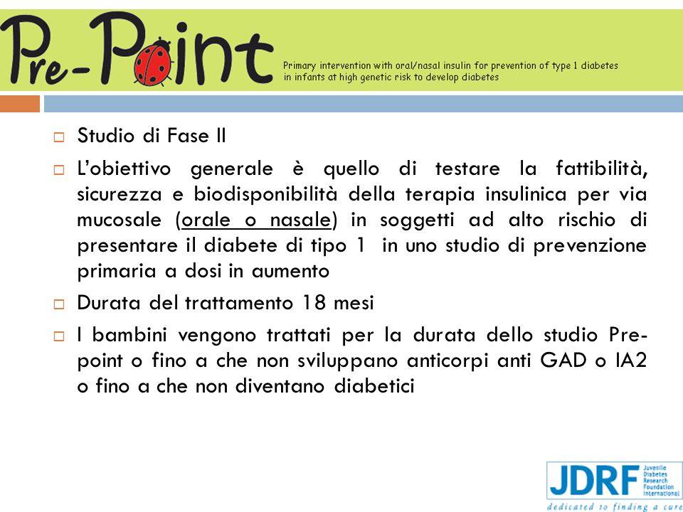 Studio di Fase II Lobiettivo generale è quello di testare la fattibilità, sicurezza e biodisponibilità della terapia insulinica per via mucosale (oral