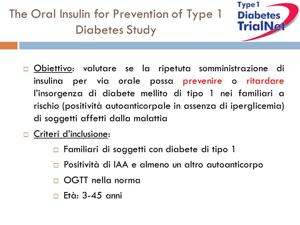 The Oral Insulin for Prevention of Type 1 Diabetes Study Obiettivo: valutare se la ripetuta somministrazione di insulina per via orale possa prevenire o ritardare linsorgenza di diabete mellito di tipo 1 nei familiari a rischio (positività autoanticorpale in assenza di iperglicemia) di soggetti affetti dalla malattia Criteri dinclusione: Familiari di soggetti con diabete di tipo 1 Positività di IAA e almeno un altro autoanticorpo OGTT nella norma Età: 3-45 anni