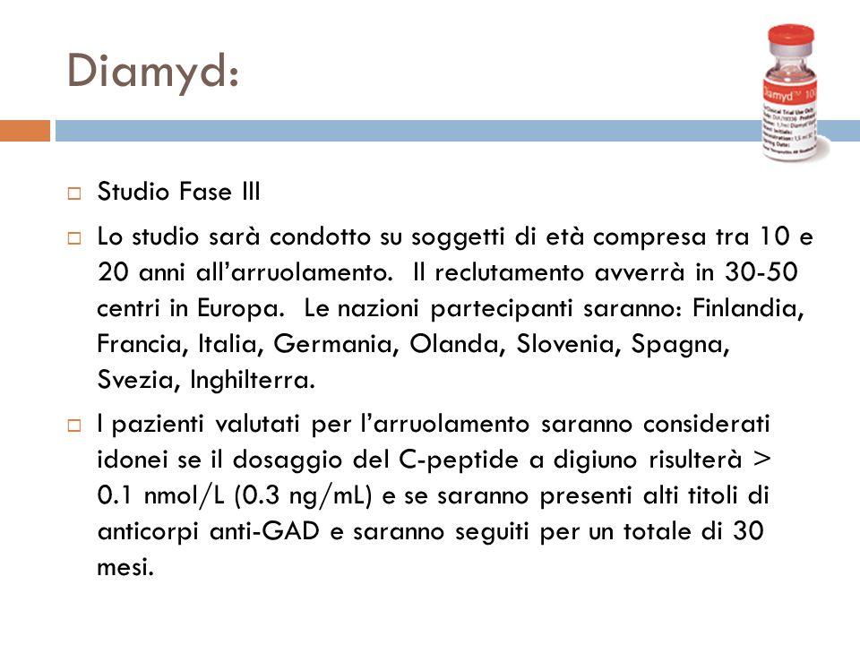 Diamyd: Studio Fase III Lo studio sarà condotto su soggetti di età compresa tra 10 e 20 anni allarruolamento. Il reclutamento avverrà in 30-50 centri