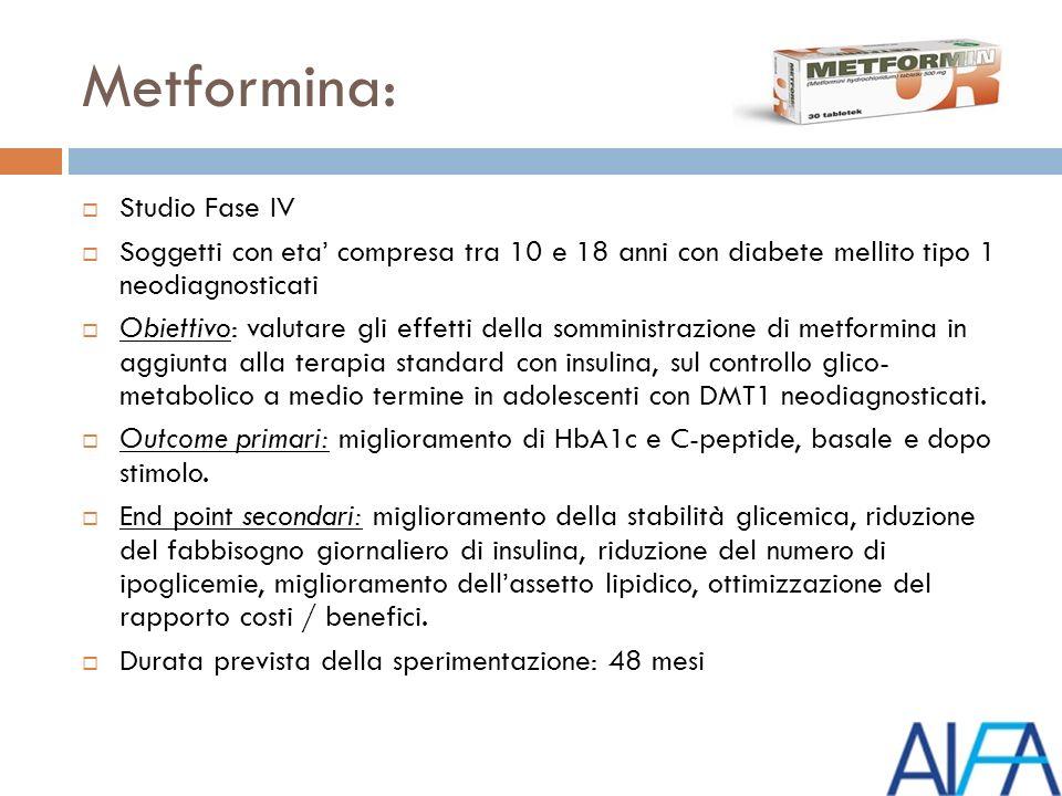 Metformina: Studio Fase IV Soggetti con eta compresa tra 10 e 18 anni con diabete mellito tipo 1 neodiagnosticati Obiettivo: valutare gli effetti della somministrazione di metformina in aggiunta alla terapia standard con insulina, sul controllo glico- metabolico a medio termine in adolescenti con DMT1 neodiagnosticati.