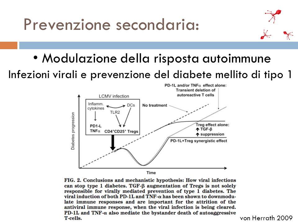 Prevenzione secondaria: Modulazione della risposta autoimmune Infezioni virali e prevenzione del diabete mellito di tipo 1 von Herrath 2009