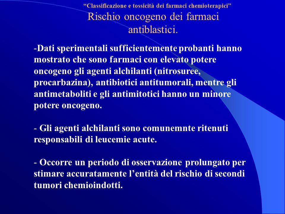 Classificazione e tossicità dei farmaci chemioterapici Rischio oncogeno dei farmaci antiblastici.