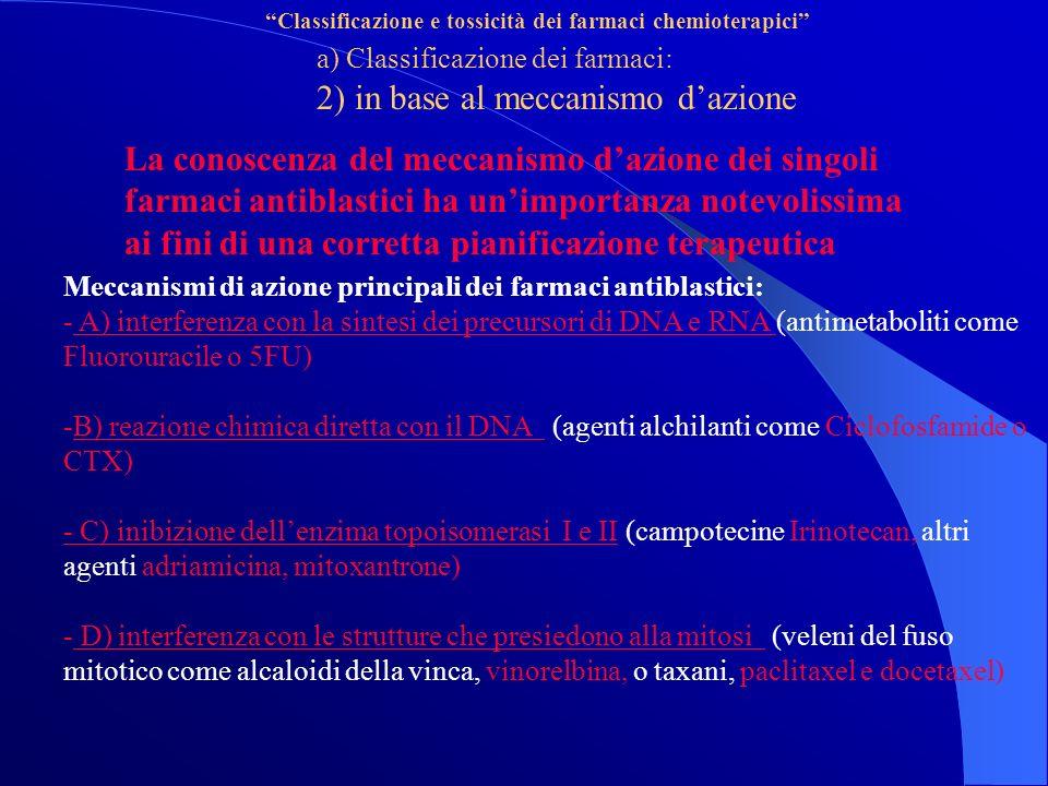 Classificazione e tossicità dei farmaci chemioterapici a) Classificazione dei farmaci: 2) in base al meccanismo dazione La conoscenza del meccanismo dazione dei singoli farmaci antiblastici ha unimportanza notevolissima ai fini di una corretta pianificazione terapeutica Meccanismi di azione principali dei farmaci antiblastici: - A) interferenza con la sintesi dei precursori di DNA e RNA (antimetaboliti come Fluorouracile o 5FU) -B) reazione chimica diretta con il DNA (agenti alchilanti come Ciclofosfamide o CTX) - C) inibizione dellenzima topoisomerasi I e II (campotecine Irinotecan, altri agenti adriamicina, mitoxantrone) - D) interferenza con le strutture che presiedono alla mitosi (veleni del fuso mitotico come alcaloidi della vinca, vinorelbina, o taxani, paclitaxel e docetaxel)