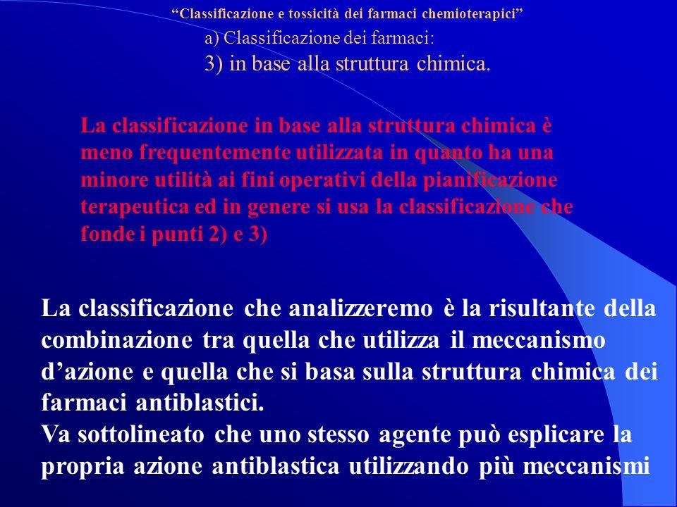 Classificazione e tossicità dei farmaci chemioterapici a) Classificazione dei farmaci: 3) in base alla struttura chimica.