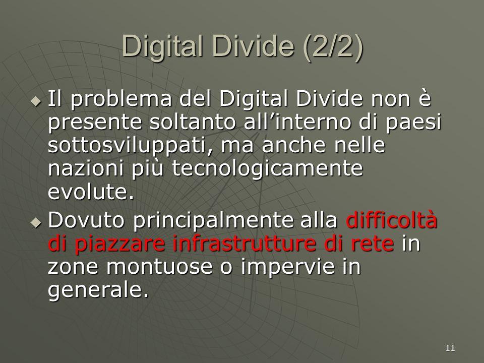 11 Digital Divide (2/2) Il problema del Digital Divide non è presente soltanto allinterno di paesi sottosviluppati, ma anche nelle nazioni più tecnologicamente evolute.