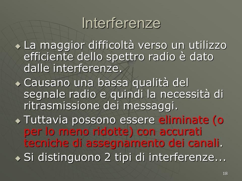 18 Interferenze La maggior difficoltà verso un utilizzo efficiente dello spettro radio è dato dalle interferenze.