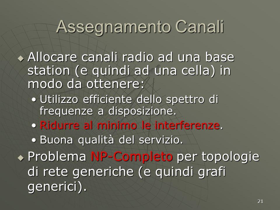 21 Assegnamento Canali Allocare canali radio ad una base station (e quindi ad una cella) in modo da ottenere: Allocare canali radio ad una base station (e quindi ad una cella) in modo da ottenere: Utilizzo efficiente dello spettro di frequenze a disposizione.Utilizzo efficiente dello spettro di frequenze a disposizione.